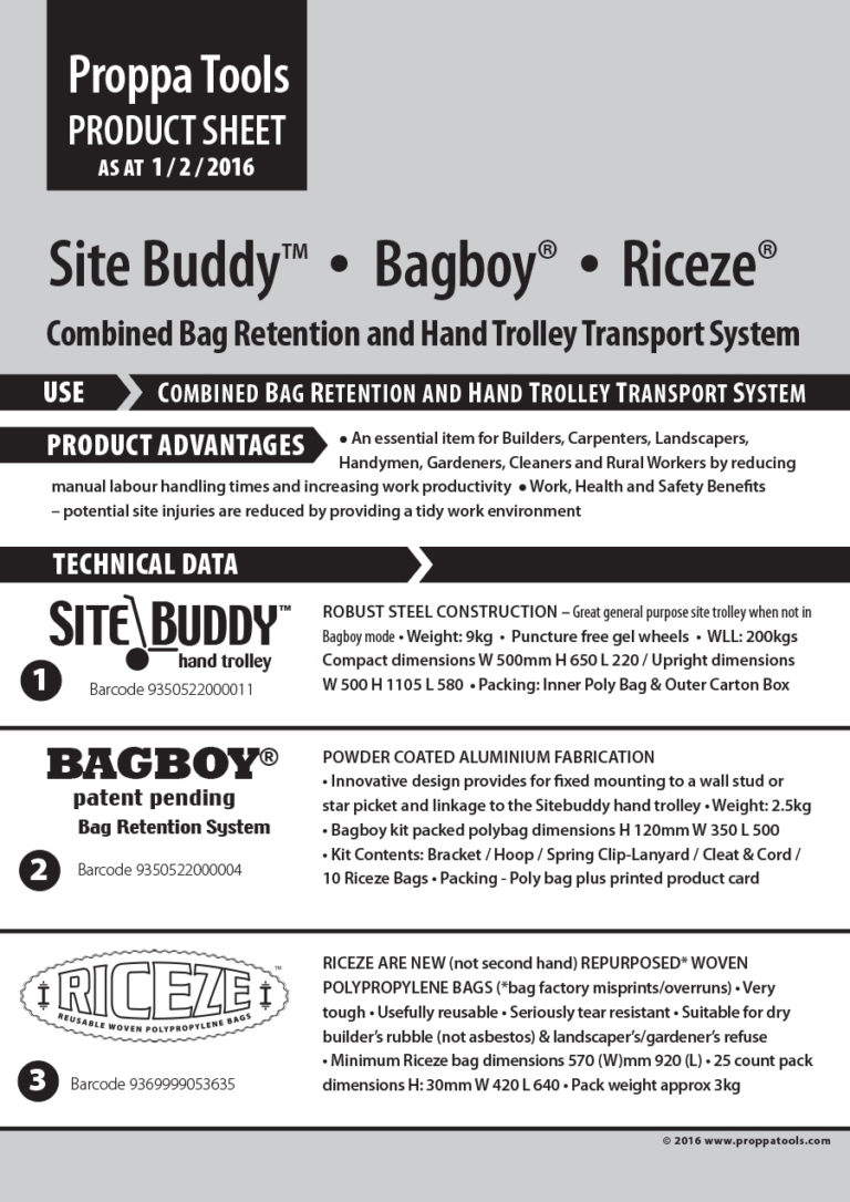 Site Buddy, Bagboy and Riceze Product Sheet